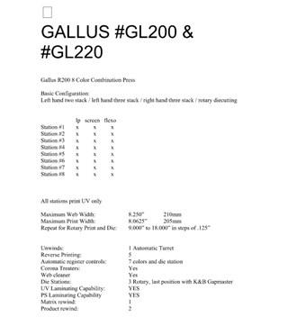 Gallus GL200 & GL220 Flexo
