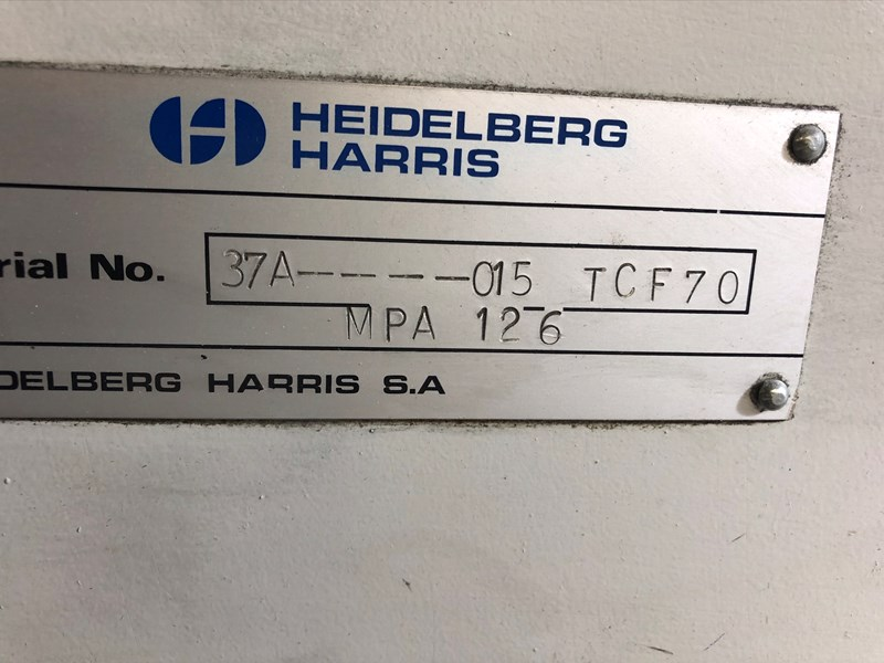Harris TCF70 Combination Folder w/Double Parallel Capability & Former By-Pass