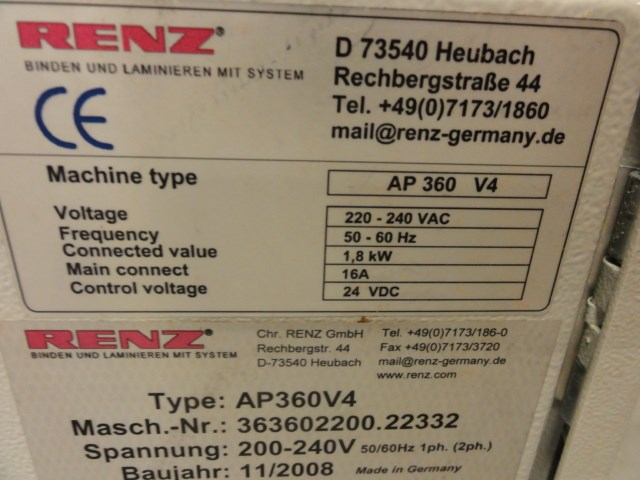 Renz AP 360 V4 automatic set up hole puncher w/3:1 die