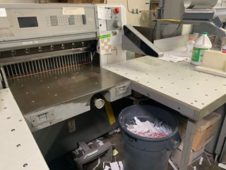 1996 Polar Mohr 78E Programmable Cutter with air on main table bed and as well extended air tables 切纸机