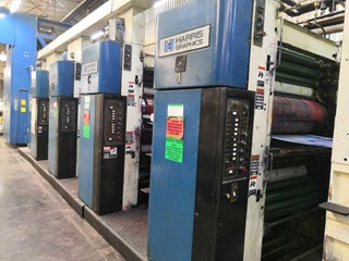 "1989 Harris M1000B (4) Unit (1) Web Press System 578mm / 22.75"" cutoff Akzidenzmaschine"