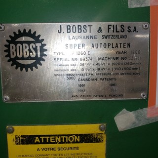 1966  Bobst SP 1260 E Die Cutters - Automatic and Handfed