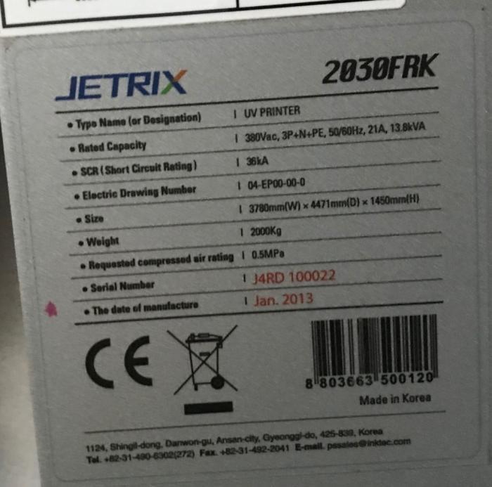JETRIX  2030 FRK UV PRINTER