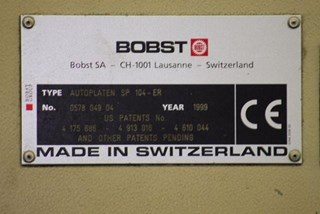 Bobst SP 104 ER Die Cutters - Automatic and Handfed